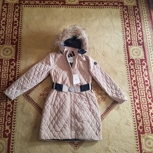 moncler  jacket fox fur hoodie trench coat  cream